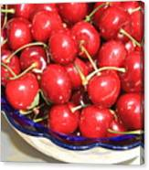 Cherries In A Bowl Close-up Canvas Print