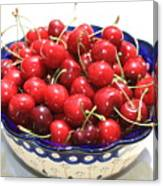 Cherries In Blue Bowl Canvas Print