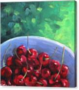 Cherries On A Blue Plate Canvas Print