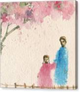 Cherry Blossom Tree Over The Bridge Canvas Print