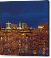 Cherry Blossom Trees At Portland Waterfront During Blue Hour Canvas Print