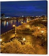 Cherry Blossom Trees At Portland Waterfront Park During Blue Hou Canvas Print