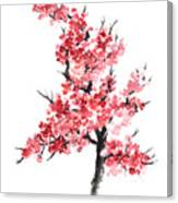 Cherry Blossom Watercolor Poster Canvas Print
