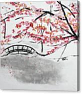 Cherry Blossoms And Bridge II Meadowlark Botanic Gardens 201729  Canvas Print