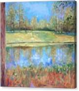 Cherry Moon Pond Canvas Print