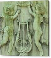 Cherubs In Moss Green Canvas Print