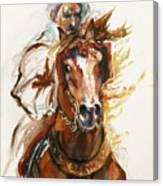 Cheval Arabe Monte En Action Canvas Print