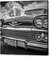 Chevrolet Biscayne 1958 In Black And White Canvas Print