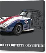 Chevrolet Corvette Convertible L88 1968,original Fast Race Car Canvas Print