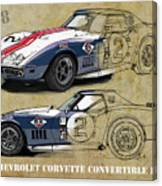 Chevrolet Corvette Convertible L88 1968,original Fast Race Car. Two Drawings, One Print Canvas Print