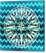 Chevron Print Compass Blue Canvas Print