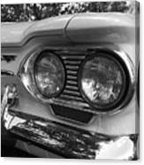 Chevy Corvair Headights And Bumper Black And White Canvas Print