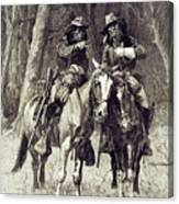 Cheyenne Scouts Patrolling The Big Timber Of The North Canadian, Canvas Print
