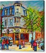 Chez Vito Rue Fairmount Landmark Architecture Beautiful Summer Scene Montreal 375 Carole Spandau Art Canvas Print