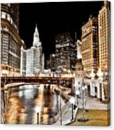 Chicago At Night At Wabash Avenue Bridge Canvas Print