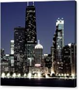 Chicago At Night High Resolution Canvas Print