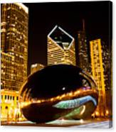 Chicago Bean Cloud Gate At Night Canvas Print