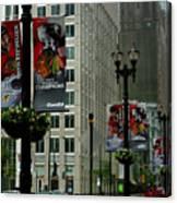Chicago Blackhawk Flags Canvas Print