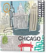 Chicago Cityscape- Art By Linda Woods Canvas Print