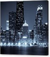 Chicago Cityscape At Night Canvas Print