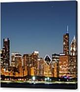 Chicago Downtown Skyline At Night Canvas Print