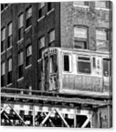 Chicago El And Warehouse Black And White Canvas Print