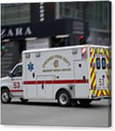 Chicago Fire Department Ems Ambulance 53 Canvas Print