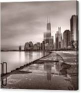Chicago Foggy Lakefront Bw Canvas Print