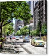 Chicago Hailing A Cab In June Canvas Print
