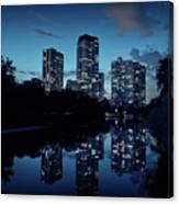 Chicago High-rise Buildings By The Lincoln Park Pond At Night Canvas Print