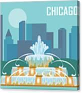 Chicago Illinois Horizontal Skyline - Buckingham Fountain Canvas Print