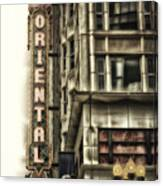 Chicago In November Oriental Theater Signage Vertical Canvas Print