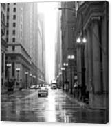 Chicago In The Rain B-w Canvas Print