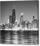 Chicago Lakefront Skyline Black And White Photo Canvas Print