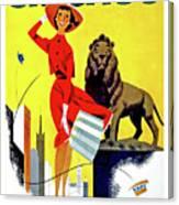 Chicago, Lion, Shopping Woman Canvas Print