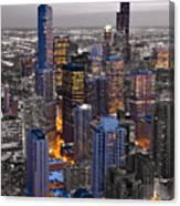 Chicago Loop Sundown Bw Color Blend Canvas Print