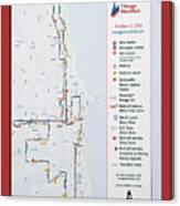 Chicago Marathon Race Day Route Map 2014 Canvas Print
