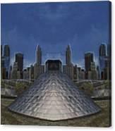 Chicago Millennium Park Bp Bridge Mirror Image Canvas Print