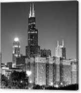 Chicago Night Skyline In Black And White Canvas Print