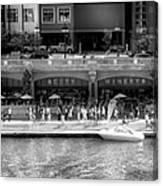 Chicago Parked On The River Walk Panorama 02 Bw Canvas Print