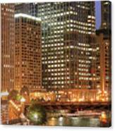 Chicago River At Night Canvas Print