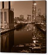 Chicago River B And W Canvas Print