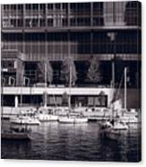 Chicago River Boats Bw Canvas Print