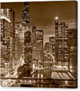 Chicago River City View B And W Canvas Print
