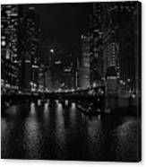 Chicago River Night Skyline Canvas Print