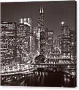 Chicago River Panorama B W Canvas Print