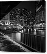 Chicago River View In Black And White  Canvas Print