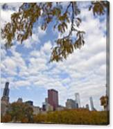 Chicago Skyline And Fall Colors Canvas Print
