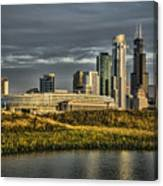 Chicago Skyline And Nature Preserve At Sunrise Canvas Print