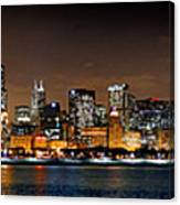 Chicago Skyline At Night Extra Wide Panorama Canvas Print